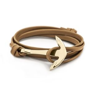 Men Women Leather Anchor Bracelet Nautical Adjust